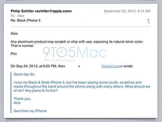 iPhone 5 ScuffGate email response from Apple